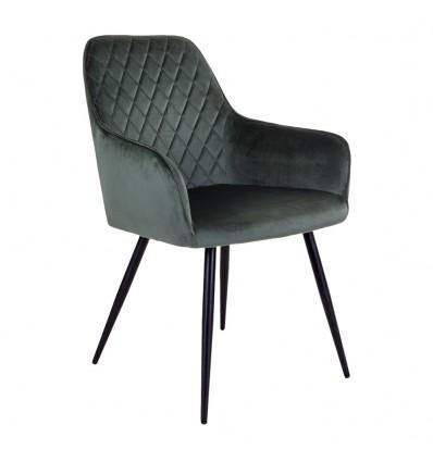 Harbo Spisebordsstol - Grøn velour/Sort