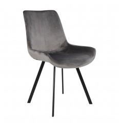 Drammen Spisebordsstol - Grå velour/Sort