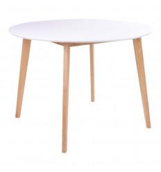 Vojens Spisebord - Ø:120 cm - Hvid/Natur