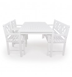 Hornbæk Havemøbelsæt -90x165 cm - Hvid