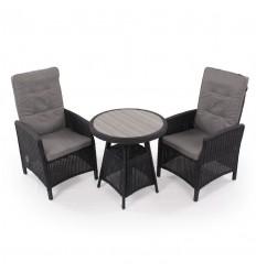 Vista Cafesæt m/2 pos stole - Ø70 cm - Sort