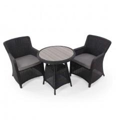 Vista Cafesæt m/2 spisestole - Ø70 cm - Sort