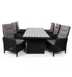 Vista Havemøbelsæt m/6 Pos.stole - 94x210 cm - Sort