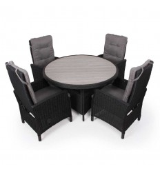 Vista Havemøbelsæt m/6 Pos.stole - Ø130 cm - Sort