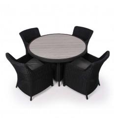 Vista Havemøbelsæt m/4 Spisestole - Ø130 cm - Sort