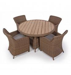 Vista Havemøbelsæt m/4 Spisestole - Ø130 cm - Dusty