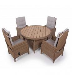 Vista Havemøbelsæt m/4 Pos.stole - Ø130 cm - Dusty