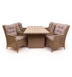 Vista Havemøbelsæt m/6 loungestole - 94x210 cm - Dusty
