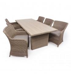 Vista Havemøbelsæt m/6 Spisestole - 94x210 cm - Dusty