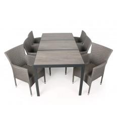 Coco Keramik Havemøbelsæt - 90x195 cm - Grå/grå