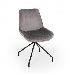 Baki Spisebordsstol m/drejesokkel - Grå Velour